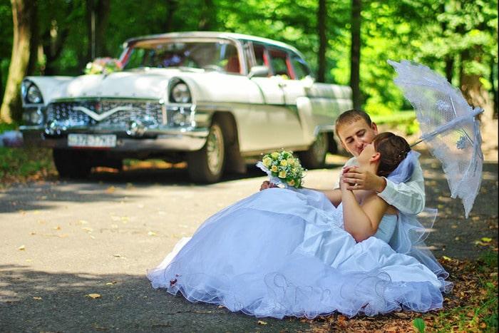 белая чайка газ 13 ретро на свадьбу