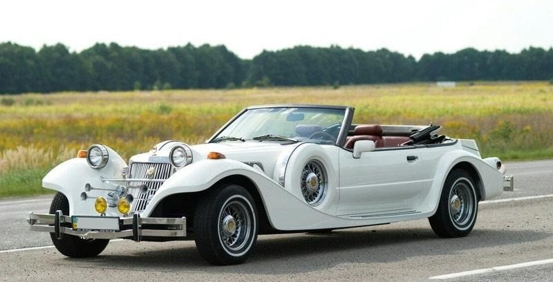 ретро кабриолет mitsuoka-dore белого цвета аренда на свадьбу
