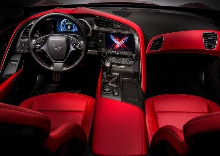 спорт кар красный шевроле корвет салон авто фото